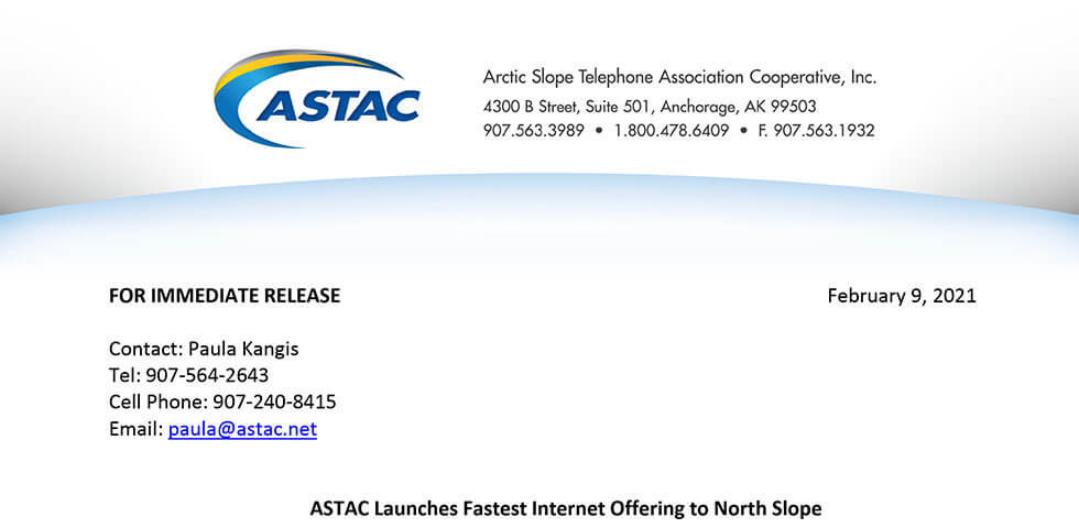ASTAC launches fastest internet offering to North Slope screenshot